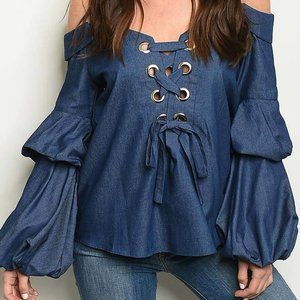 OFF SHOULDER LINED BUBBLE SLEEVE TOP